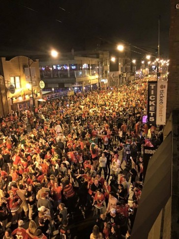 Aerial shot of Stanley Cup celebration