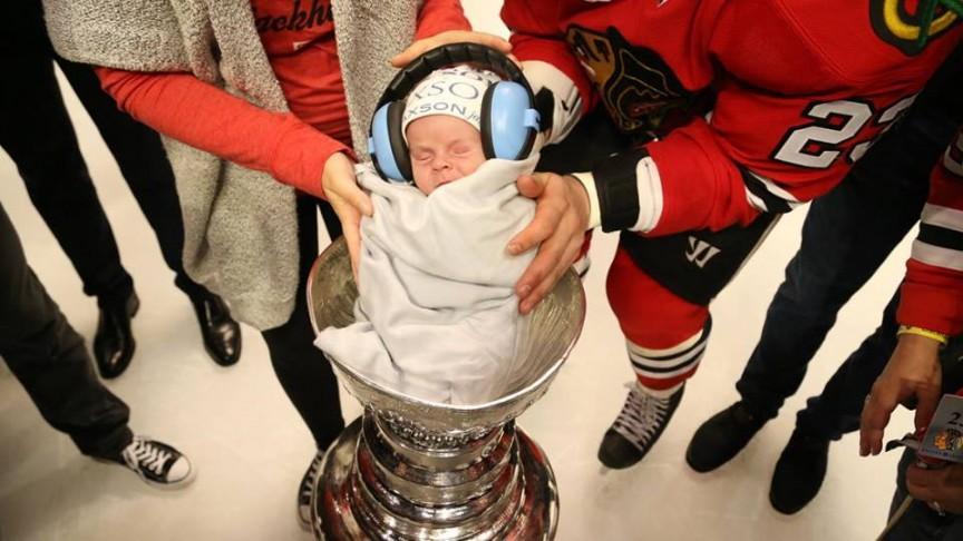 Kris Versteeg's baby in the Stanley Cup