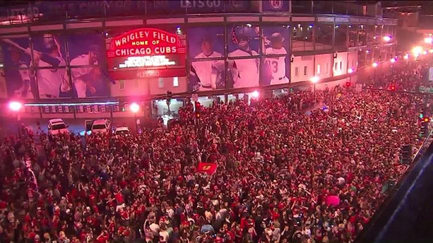 Blackhawks fans gather at Wrigley Field