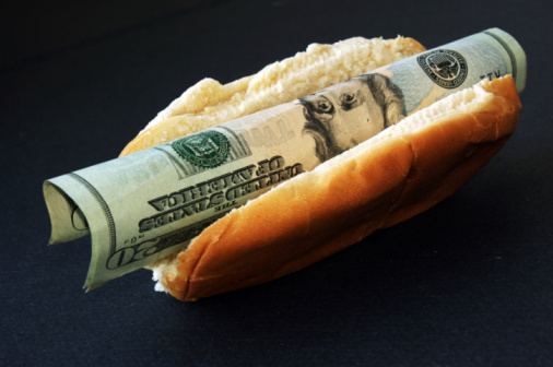 hot dog with money in it