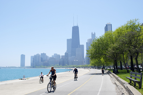 bike on lakeshore path Chicago