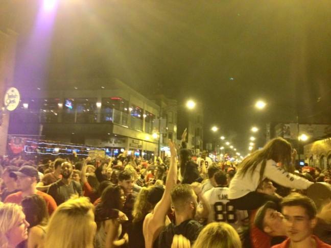 Blackhawks Fans in the Streets of Wrigleyville